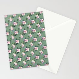 Watercolour White Peonies Pattern Stationery Cards