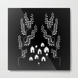 Line Vine Village Line Art Illustration in Black Metal Print