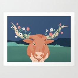 Longhorn Florals Art Print