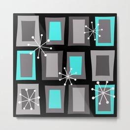 Mid Century Modern Art 'Wonky Doors' Turquoise Black Metal Print