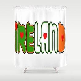 Ireland Font #1 with Irish Flag Shower Curtain