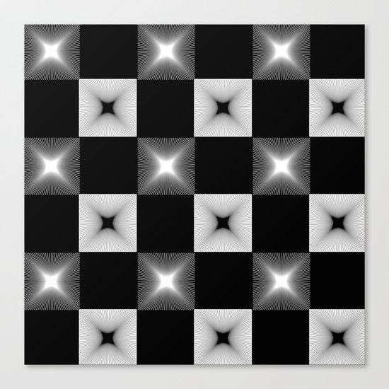 Black And White Illusion Pattern Canvas Print