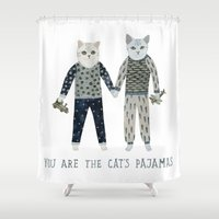 toddler Shower Curtains featuring You are the Cat's Pajamas by Yuliya