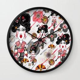 Geisha in the Rainy Garden Wall Clock