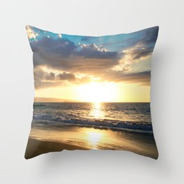 Poolenalena Beach Sunset Makena Maui Hawaii Throw Pillow