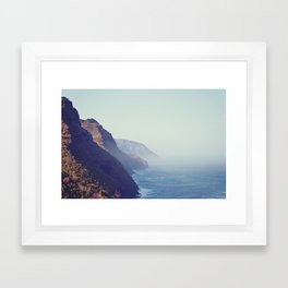 Hawaii Mountains Along the Ocean Framed Art Print