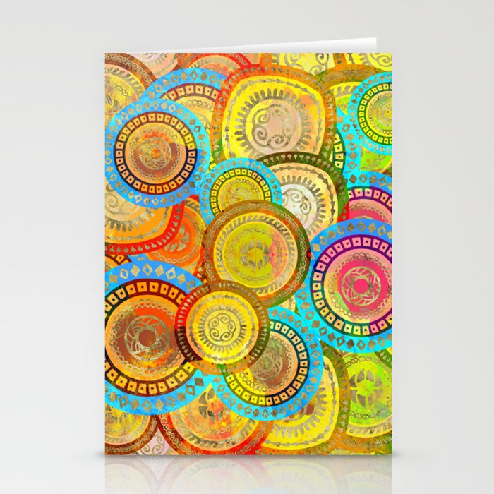 Colorful Circular Tribal  pattern with gold Stationery Cards