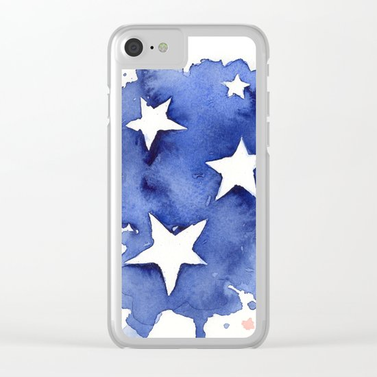 American Flag Watercolor Abstract Stars and Stripes Clear iPhone Case