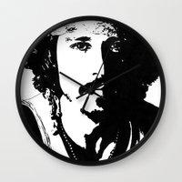 johnny depp Wall Clocks featuring Johnny Depp by Jeanique van den Berg