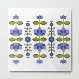 Blue Florals Metal Print