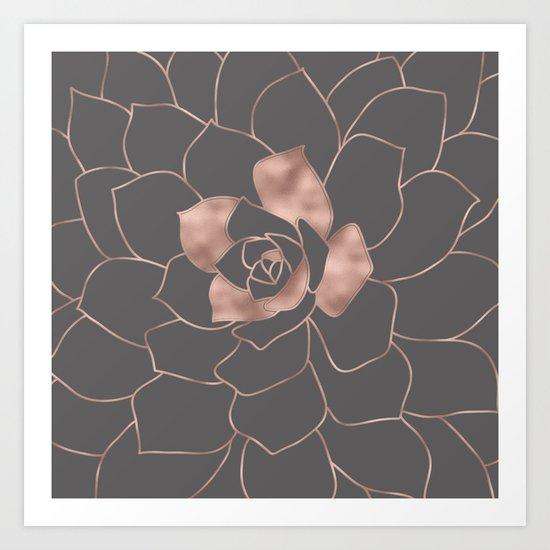 Rosegold  blossom on grey - Pink metal-effect flower Art Print