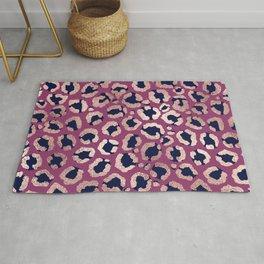 Girly Modern Rose Gold Navy Purple Leopard Print Rug