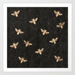 Busy Bees (Black) Art Print