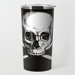 Skull and Crossbones | Jolly Roger | Pirate Flag | Black and White | Travel Mug