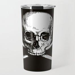 Skull and Crossbones | Jolly Roger | Pirate Flag | Black and White | Travel Mug