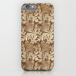 Jacobean Flower Damask, Brown and Taupe Tan iPhone Case