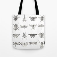 insects Tote Bags featuring Insects by Elizabeth Clowes Illustration