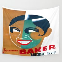 1975 Wall Tapestries featuring Josephine Baker Vintage Poster for Stockholm by taiche