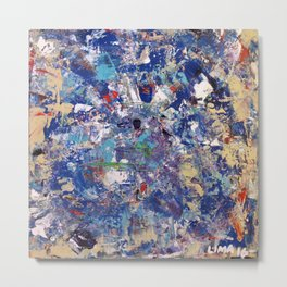 Thinking in Blue: Abstract Acrylic Painting in blueish tones Metal Print