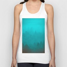 Teal Fog Forest - Foggy Redwood Trees in California Unisex Tank Top