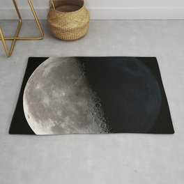 Third Quarter of a moon with accurate shadows Rug