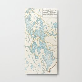 Vintage Muskoka Lakes Map Metal Print