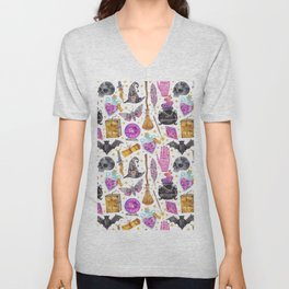 Pink gold black watercolor hand painted halloween pattern Unisex V-Neck