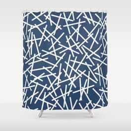 Kerplunk Navy and White Shower Curtain