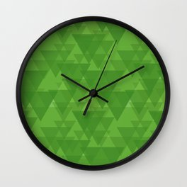 Gentle green triangles in intersection and overlay. Wall Clock