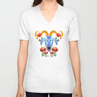 chinese V-neck T-shirts featuring chinese goat by Manoou