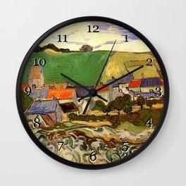 View of Auvers, Vincent van Gogh. Wall Clock