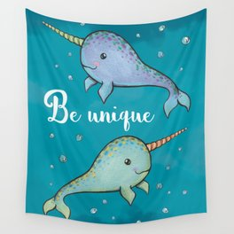 Be Unique Narwhals Wall Tapestry