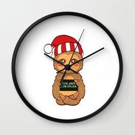 Lazy Animal Sloth Dear Santa I Can Explain Naughty List Christmas Xmas Holiday Season T-shirt Design Wall Clock