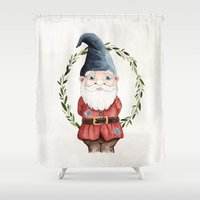 gnome Shower Curtains featuring Male Gnome by Fercute