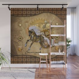 Wonderful steampunk horse with white mane Wall Mural