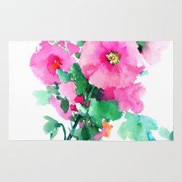 Hollyhock Pink Flowers vintage floral design Rug