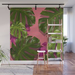 """Tropical monstera polka dots pastel pink"" Wall Mural"