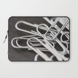 Pile of Silver Paper Clips Close Up Laptop Sleeve