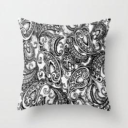paisley batik black Throw Pillow