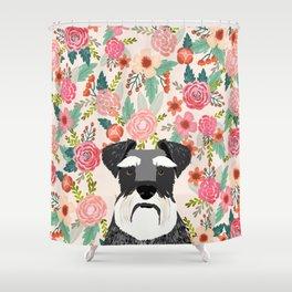 Schnauzer dog head floral background flower schnauzers pet portrait Shower Curtain