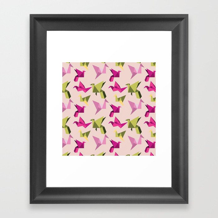 pink paper cranes Framed Art Print