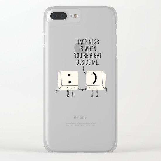 Happiness is when you're right beside me Clear iPhone Case