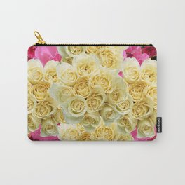 REDDISH MAGENTA PINK ROSES & IVORY ROSES CLUSTERS Carry-All Pouch