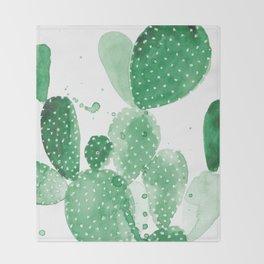 Green Paddle Cactus Throw Blanket