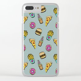 Fast Food Heaven Illustrated Pattern Clear iPhone Case