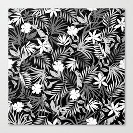 Tropical Floral - Monochrome Canvas Print