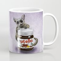 nutella Mugs featuring Sweet aim // galago and nutella by Anna Shell