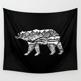 Bear Necessities in Black Wall Tapestry