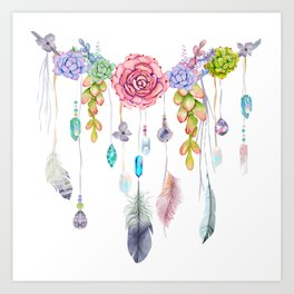 Spirit Gazer With Crystals And Succulents Art Print
