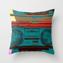 Radio Pop Art Comic Throw Pillow